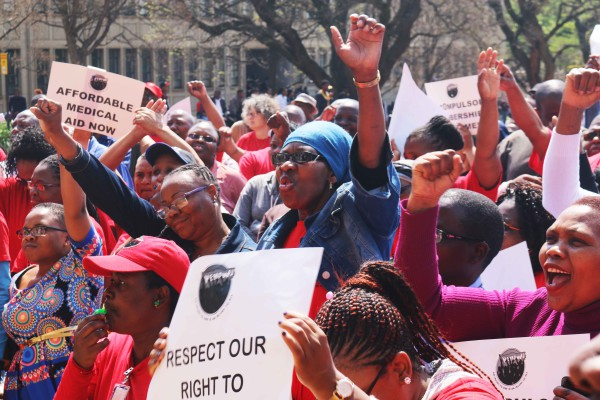 AMANDLA: Workers gathered on the Great Hall steps to hand over memorandum that demands the university allow workers the freedom to choose their own medical aid scheme. PHOTO: Zanta Nkumane