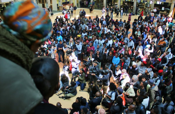 INCREASE: Wits students gathering at Solomon Mahlangu House, following the the Higher Education and training Minister Blade Nzimande announcement to an 8% fee increment for 2017. Photo: Nokuthula Zwane