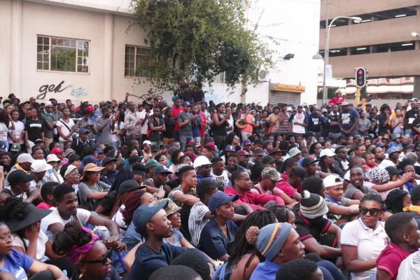 Student Fees Must Fall protesters deliver memorandum to COSATU House, Braamfontein. Photo: Nasya Smith