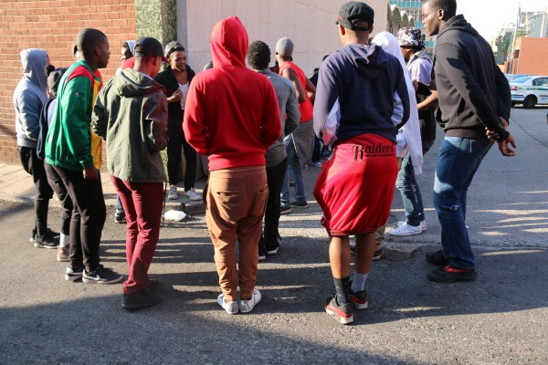 Men's Res/ Raiders danced and sang outside the Hillbrow Police Station before the release of the 30 Wits students. Photo: Nokuthula Zwane