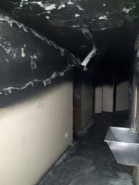 BURNT: One of the University of Limpopo's student residence brunt. Photo: Provided