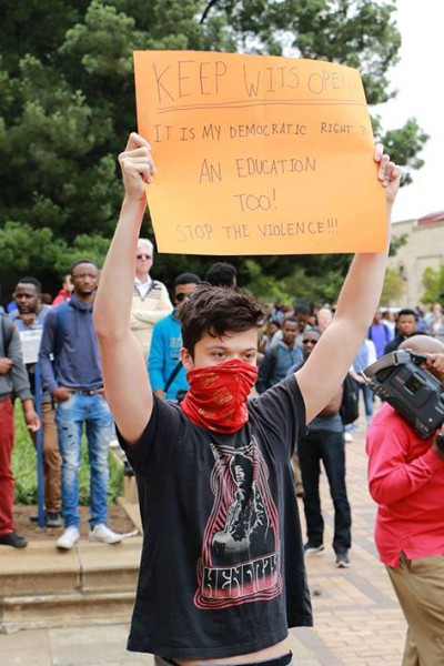 A student expresses his wish to have Wits open for lectures. Photo: Dinesh Balliah.