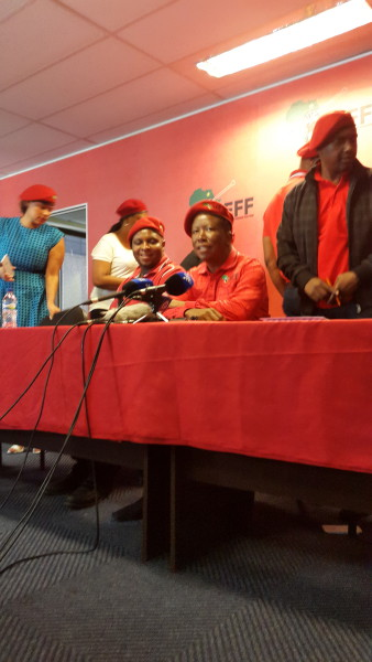 EFF CIC, Julius Malema adressinf media at the headquarters in Braamfontein. Photo:Olwethu Boso