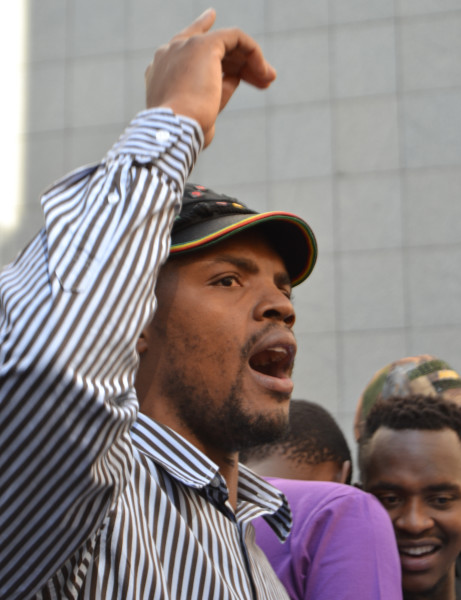 Mcebo Dlamini addressing students during #FeesMustFall protests.          Photo: Candice Wagener