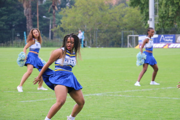 CHEERING LADIES: The Wits cheerleading squad performed for the first time at the FNB Wits vs FNB CUT rugby game on Monday night. Photo: Nokuthula Zwane