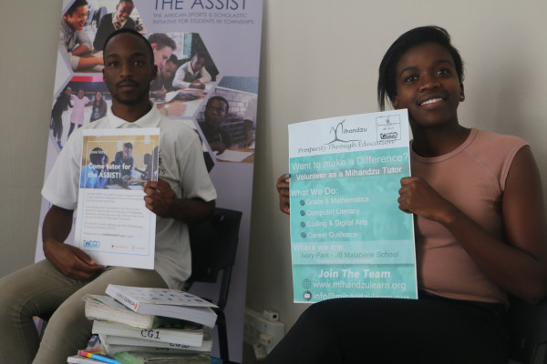 GIVING BACK: Wits students Sandile Mthembu and Khanya Memela are both making a difference in their communities by tutoring learners from Alexandra and Ivory Park respectively