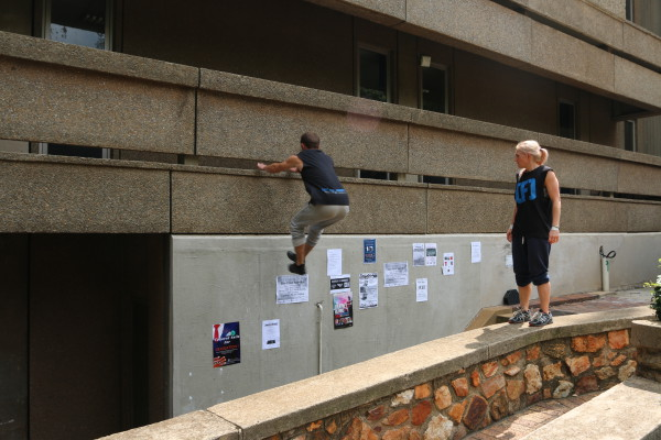 ALL TIME HIGH: Dyllon Davidson leaps for the wall by Wartenweriller Library, Wits University