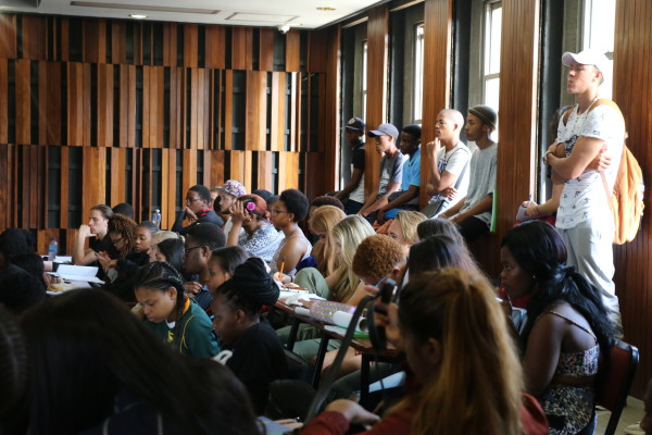 TAND-IN LECTURE: First year students attending lectures in SH6 are having to stand due to insufficient seats. Photo: Aarti Bhana