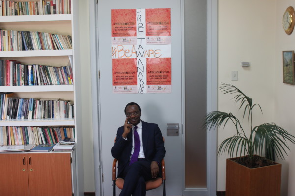 Deputy Vice Chancellor, Tawana Kupe, shows his support for anti-racsim week