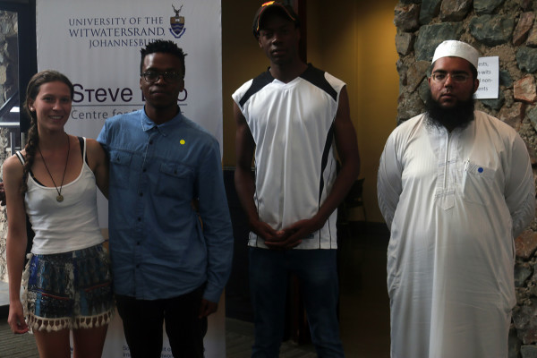 Winners: From left, Art competition winner Allyson Smith and runner-up, Sibongiseni Kwabe with essay runner-ups Nkosinati Maluleke and Hudhaifa Hassen