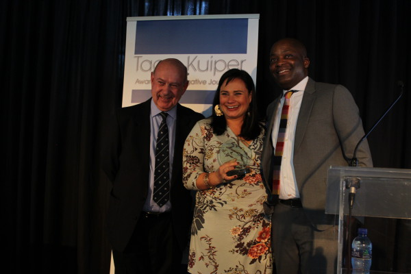 Winner of the @016 Taco Kuiper Awards for investigative journalism, Suzzane Venter from the Rapport newspaper. Photo: Nozipho Mpanza