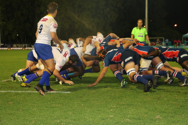 FNB Wits pushing hard against FNB NMMU at the Wits rugby stadium.