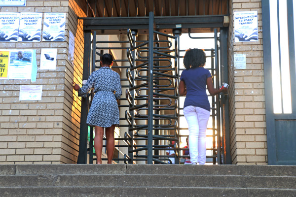 Witsies using ICAM identity cards to enter  into campus