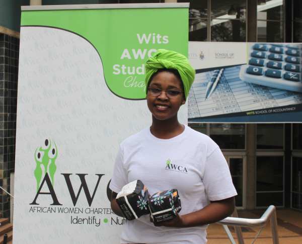 AWCA Chairperson Nelisa Metula says the society intends to use funds to buy 100 sanitary towels.