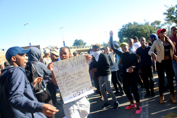 Around 200 Vale Village residents protested outside Wits University's Empire Road entrance due to lack of service delivery at the new accommodation.  Photo: Nonkululeko Njilo