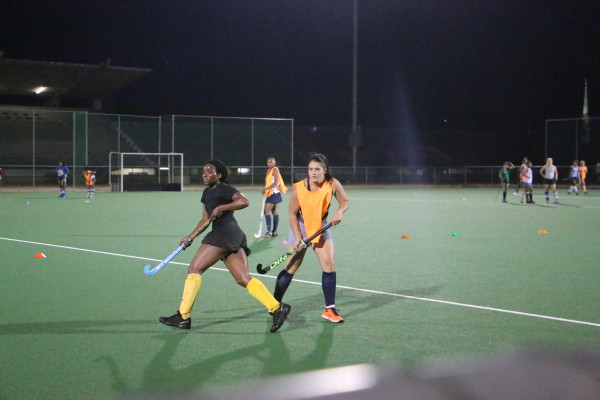 PUCKING IT: The Ladies' 1st team at a practice session