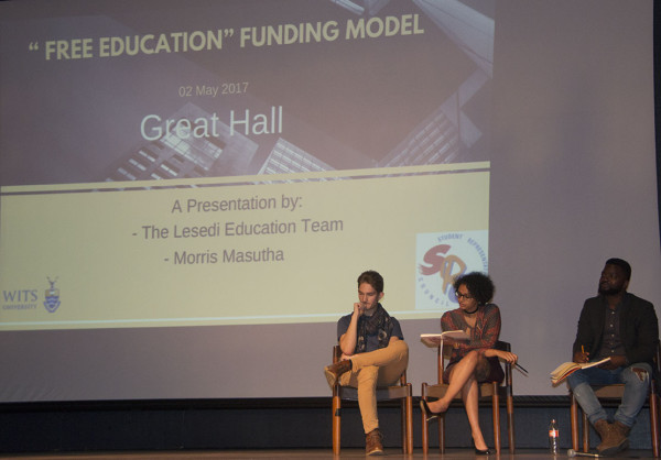 Free Education Funding Models Discussion. (From left to right): Dylan Barry, Alexandra Flusk and Mukovhe Masutha