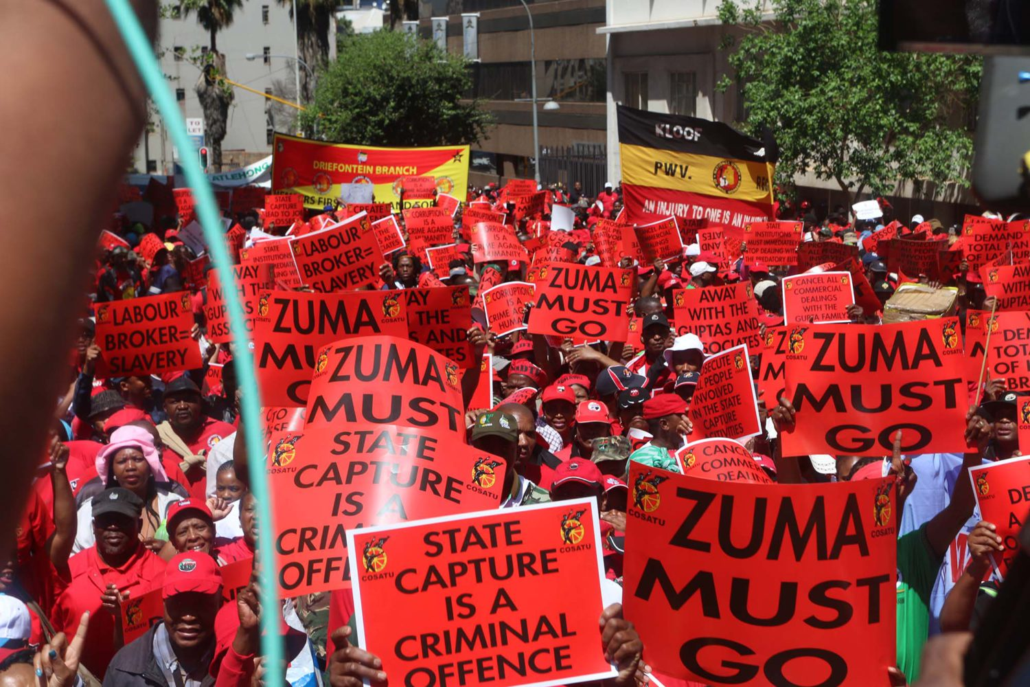 Braamfontein a sea of red as Cosatu and SACP lead state capture protests
