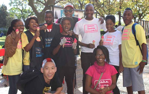 The team of Take Away Cancer who helped out at the shavathon today. Photo: Prelene Singh