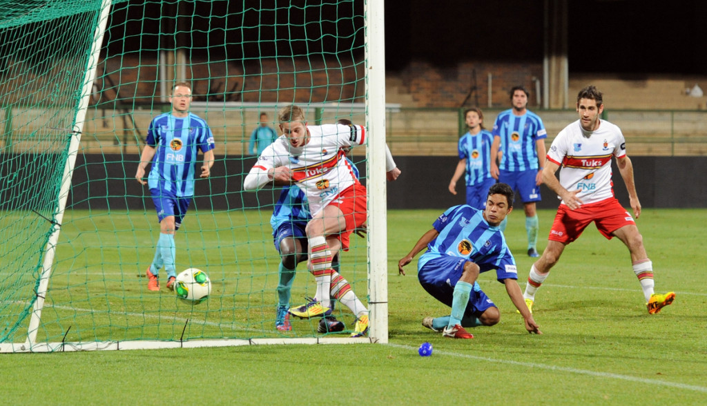 Keegan Boulle, a Tuks reserve, scores the fourth goal in their game against UCT on Monday. Photo: Provided