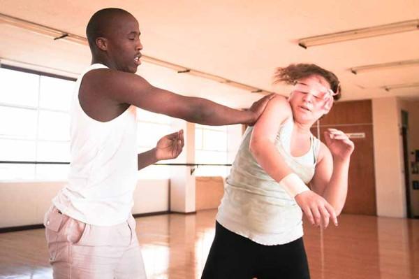 5,6,7,8: Oupa Sibeko and Emma Tollman rehearse their physical theatre piece 56 Mocha Street.