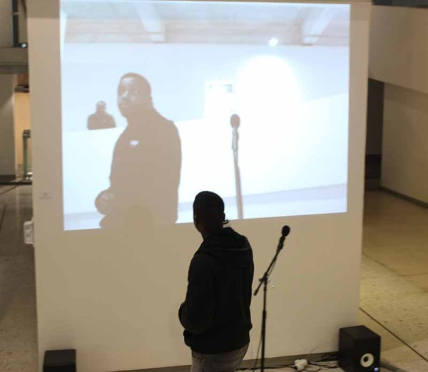 Tegan Bristow's microphone art piece. Photo: Ray Mahlaka