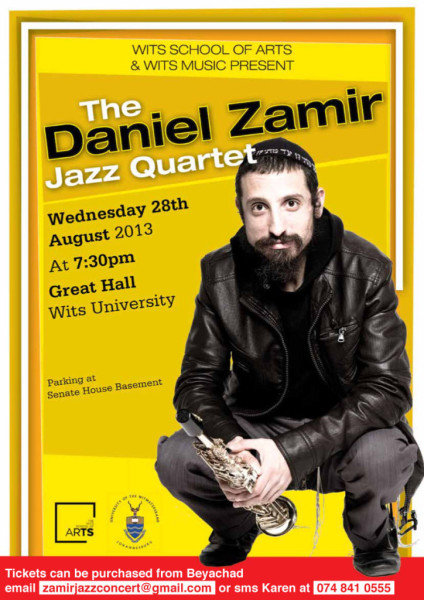 A poster advertising the Daniel Zamir concert at Wits University. Image: www.jewishsa.co.za
