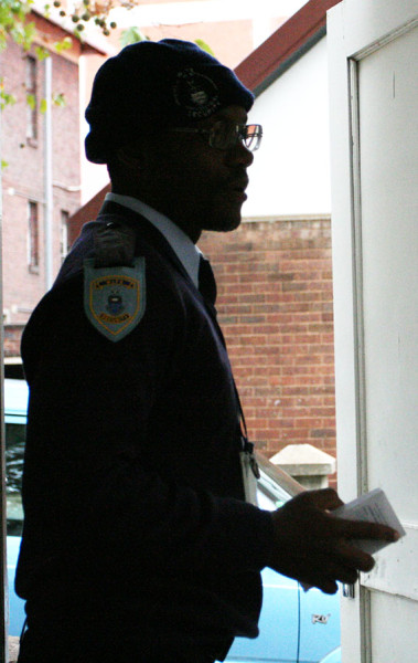 FILE PHOTO: A Wits security guard is pictured on duty earlier this year. Photo: Mfuneko Toyana