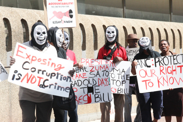 Protesters sang out against the proposed 'Secrecy Bill' outside of Luthuli House. Photo: Pheladi Sethusa