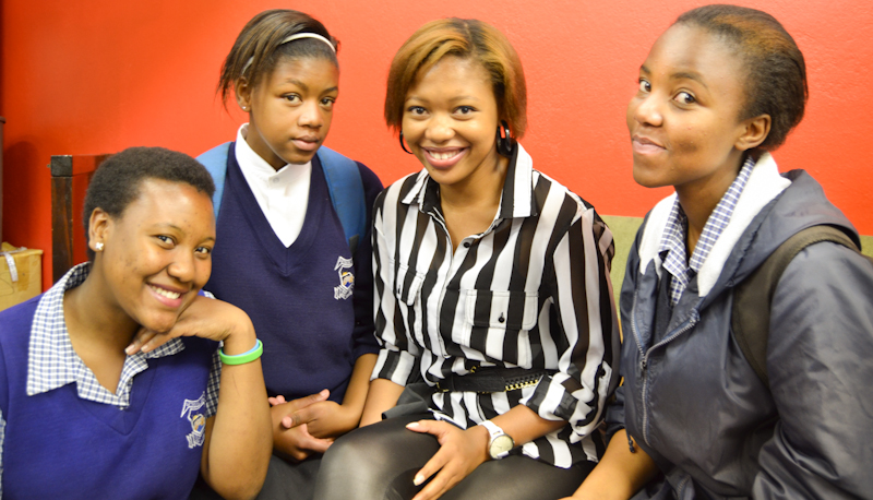 SMILES ALL ROUND: Wits mentors each got some highschool pupils to take under their wing for a day, From left to right: Philile Mashele, Palesa Mokoena, Tanyani Daku and Kedibone Rapoo. Photo: Pheladi Sethusa