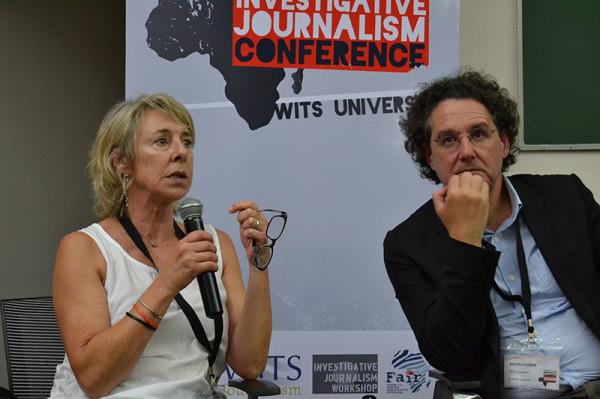 Gwen Lister and Professor Anton Harber at the Carlos Cardosa Memorial Talk. Photo: Emelia Motsai