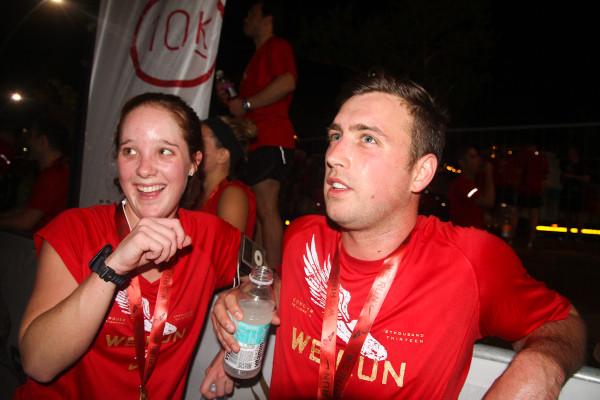 LAUGHING HELPS: Mandy Mundell and Mark Dunnik share a joke after their race. Photo: Nokuthula Manyathi