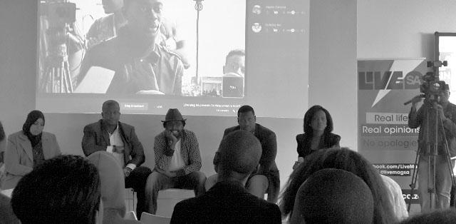 Pre=recorded videos and live streams from the other provinces were projected onto the wall behind the panel. From left to right: Khadija Patel, DJ Fresh, Kagiso Lediga, Shaka Sisulu and facilitator Tumelo Mothotoane. Photo: Pheladi Sethusa
