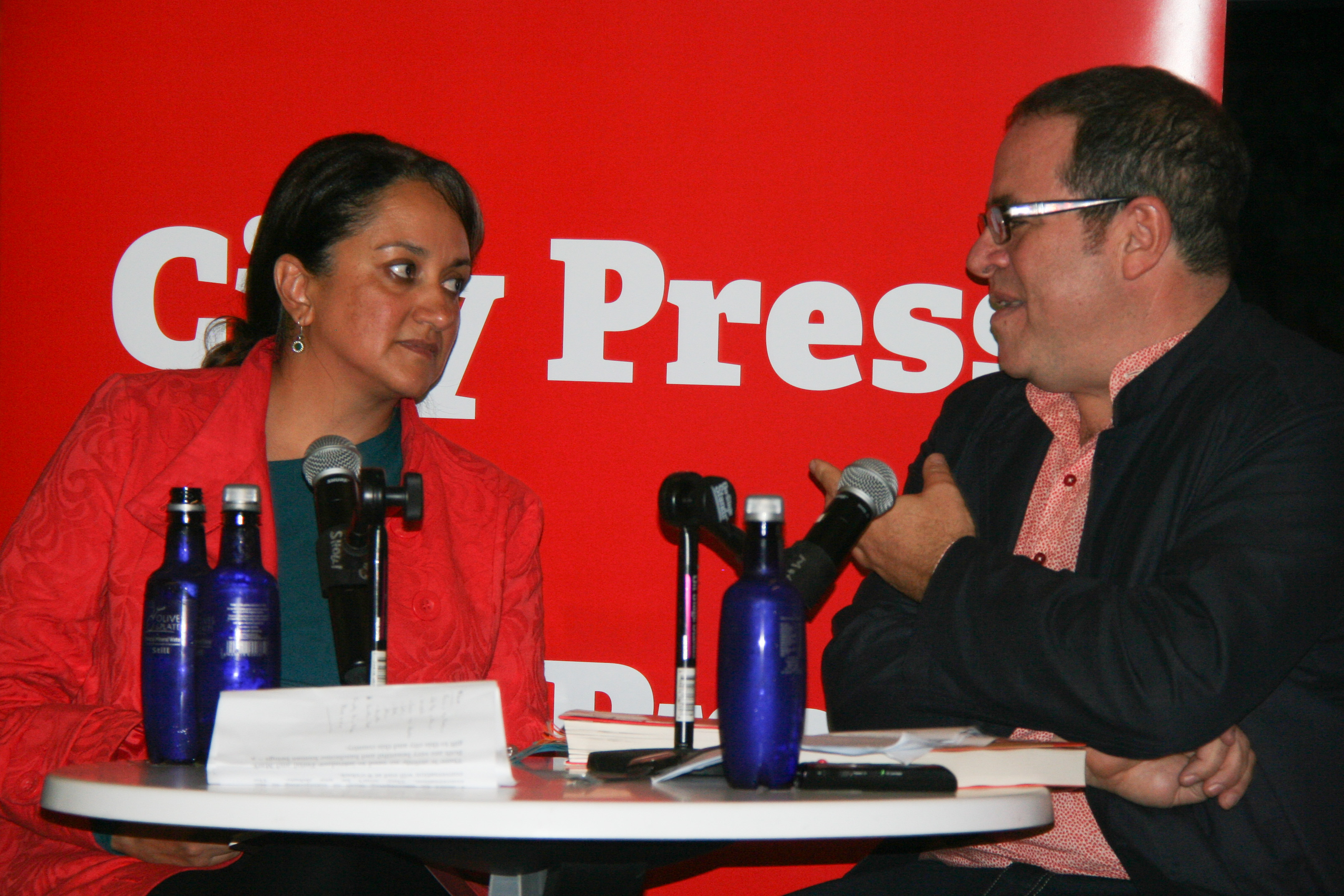 IN CONVERSATION: City Press editor Ferial Haffajee and Mark Gevisser, both born and riased in different and diverse parts of Johannesburg, discussion the uniqueness of the city. Photo: Zelmarie Goosen.