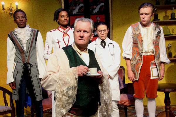 THE RICH AND THE DUBIOUS: (from left) Obett Motaung, Campbell Jessica Meas, Michelle Schewitz, Jonathan Young and Peter Terry (foreground) in Jessica Friedan's Government Inspector at the Wits Theatre. Photo: supplied
