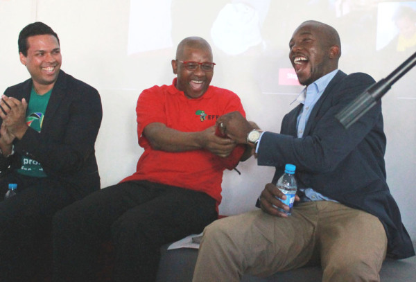 POLITICS OF FUN: The EFF's Dali Mpofu and the DA's Mmusi Maimane share a lighthearted moment at a youth debate held on Tuesday afternoon. Photo: Tracey Ruff