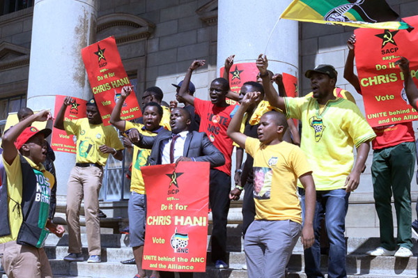 WE SAY NO: ANCYL and SACP members gathered outside the location of the launch in protest against it.