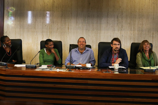 Panelists from left to right: Sisonke Msimang, Prof Sithembile Mbele, Lance Greyling, Greg Solik and Susan Booysen