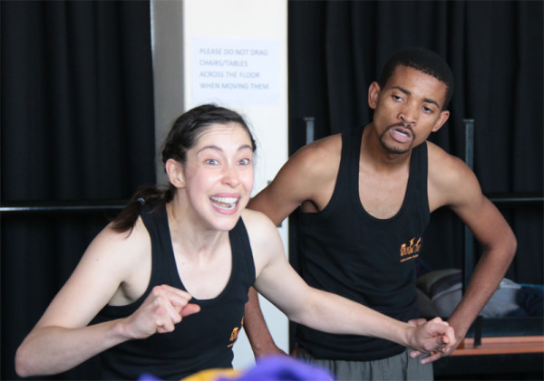 EVOLUTION IN MOTION: Liesel Retief (on the left) and Pro Mchunu (on the right) are two of three actors who were part of the Walking Tall physical theater play. The third actor was Lesego Gladwin Molotsi (not pictured). Photo: Luke Matthews