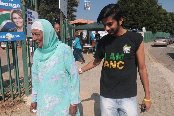 GENERATIONS VOTE: Wits SRC President Shafee Verachia chats with his grandmother Fatima Verachia as they go into the Malboro Gardens voting station