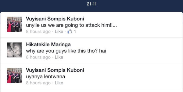 A screengrab from Mighti's Facebook account. Kuboni responds to a comment on another SRC member's status. Photo: Provided