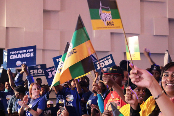 ANC and DA supporters at last night's final installment in the Wits Great Debate series. Photo: Anazi Zote