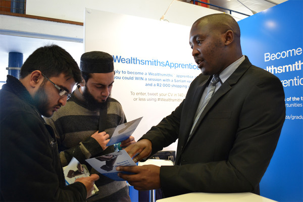 NATIONAL EDGE?:  A recruiter explains to Witsies their available options for their career applications.  Photo: Lameez Omarjee