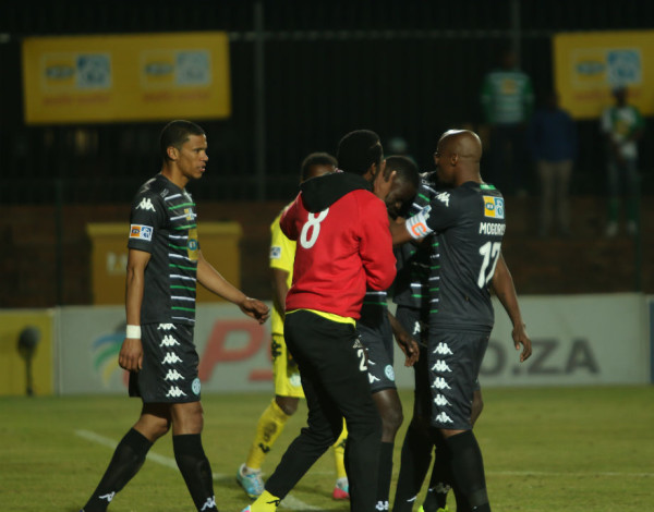 Bloem Celtic team mates consoling tearful Limbikani Mzava's penalty was saved by Mabokgwane, witnessing The Clever Boys advancing to the semi-finals with a 4-3 lead. Photo: Nqobile Dludla