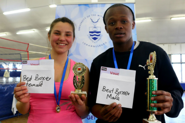 THE BEST: (L-R) Nadia Krugera won Best Female Boxer while Siphamandla Mamba walked away with Best Male Boxer on Saturday at the Wits Boxing Tournament. Photo: Nqobile Dludla