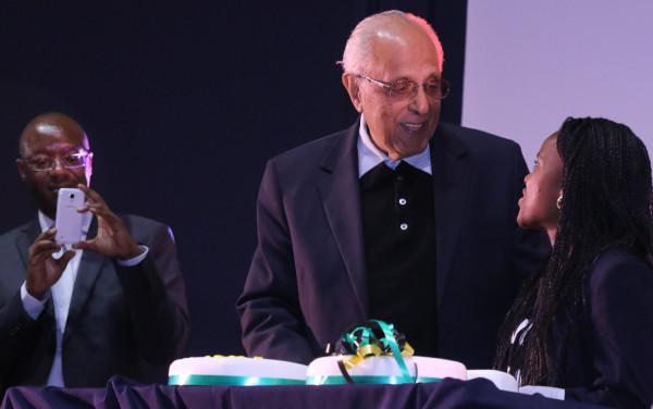 "HAPPY BIRTHDAY: Ahmed Kathrada stood to receive his birthday cake and for the singing of ""Happy birthday"". Photo: Luke Matthews"