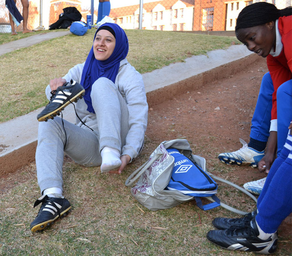 """FAITHFUL IDENTITY: By wearing her hijab whilst playing soccer, Naeema Hussein  believes she's representing her faith at a """"higher level"""".         Photo:  Lameez Omarjee"""