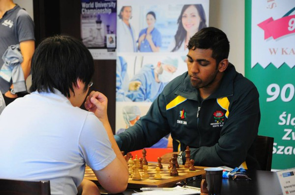 BATTLEFIELD: Evasan Chettiar, 2nd year BEng represented South Africa at the World Chess Championships held in Poland last week.  He is pictured taking on an opponent during the 4th round of the competition.  Photo: Provided