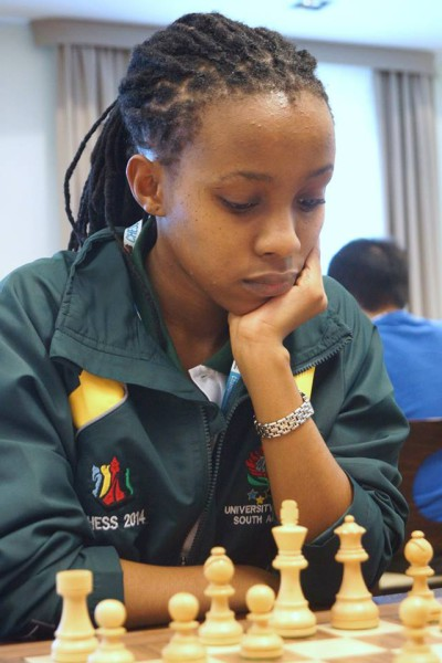 THINKER: Seadimo Tlale, 2nd year LLb was the only female in a team of four students representing South Africa in the World University Chess Championships held in Poland last week.  She is pictured in the first round of the competition.  Photo: Provided
