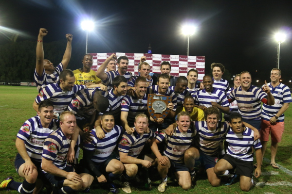 The Young Doctors (Medics) celebrate their 16-13 win against Masakhane in the finals of the internal rugby league.     Photo: Lutho Mtongana